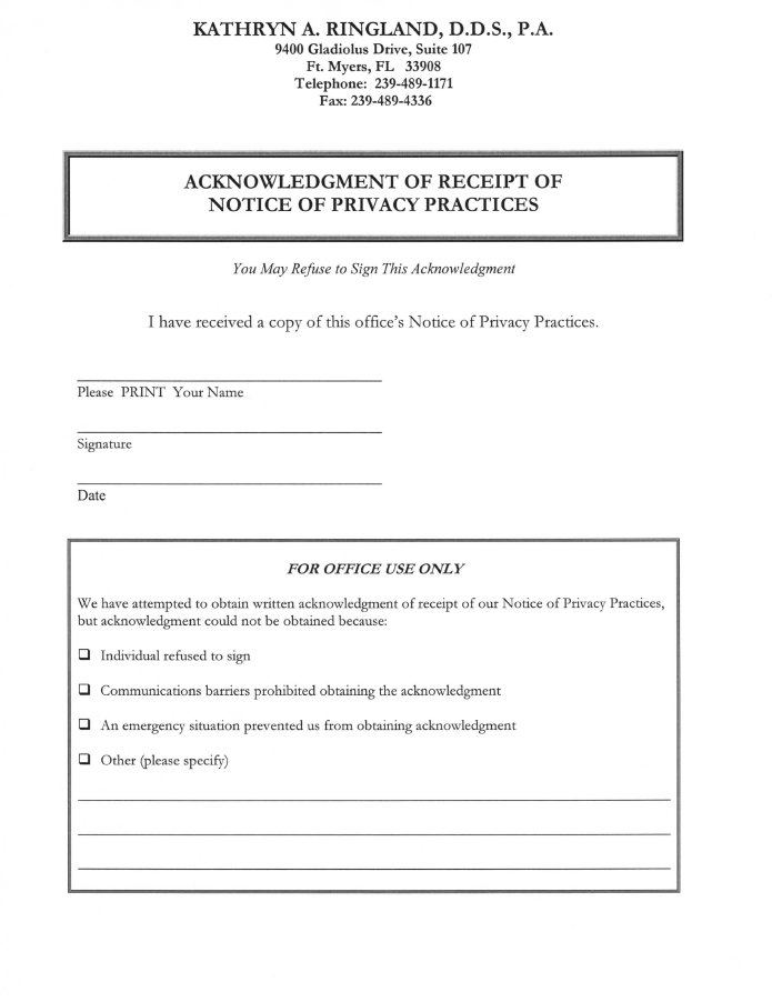 Acknowledgment Receipt Of Notice Of Privacy Practices